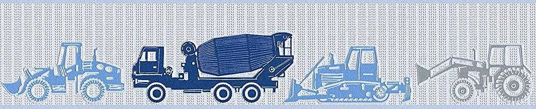 Kék traktor markoló mintás bordűr gyerekszobába