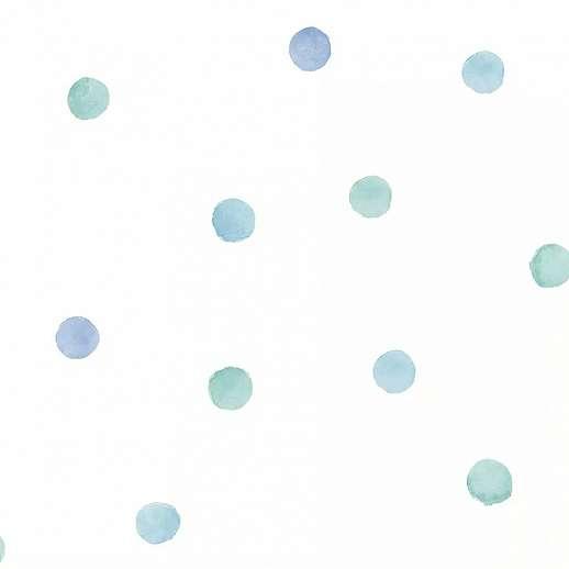 Kék, türkiz pöttyös mintás tapéta gyerekszobába