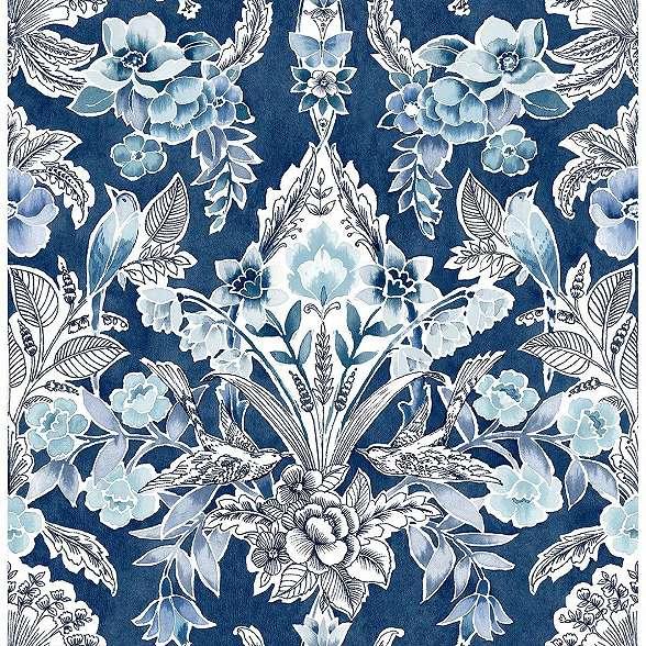 Kék vintage virágmintás vlies prémium design tapéta