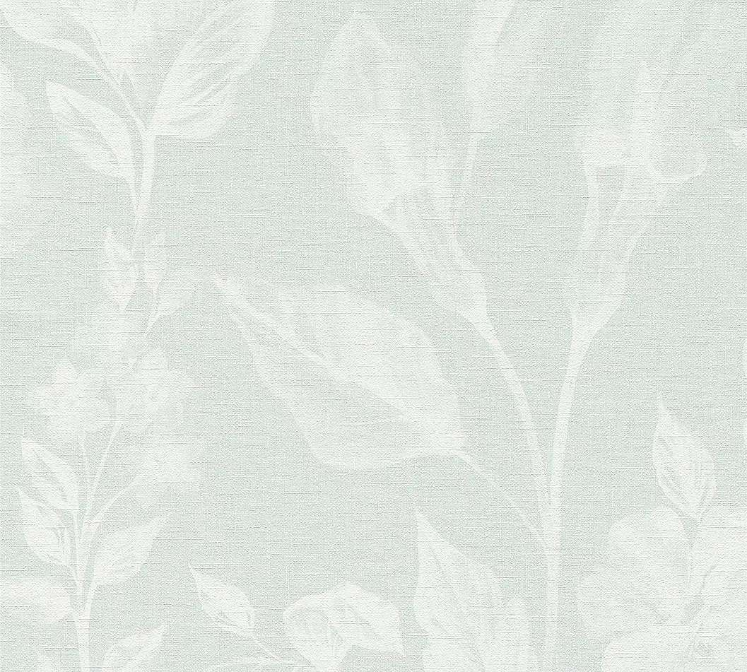 Kék virágmintás vlies tapéta textil szőtt hatású alapon