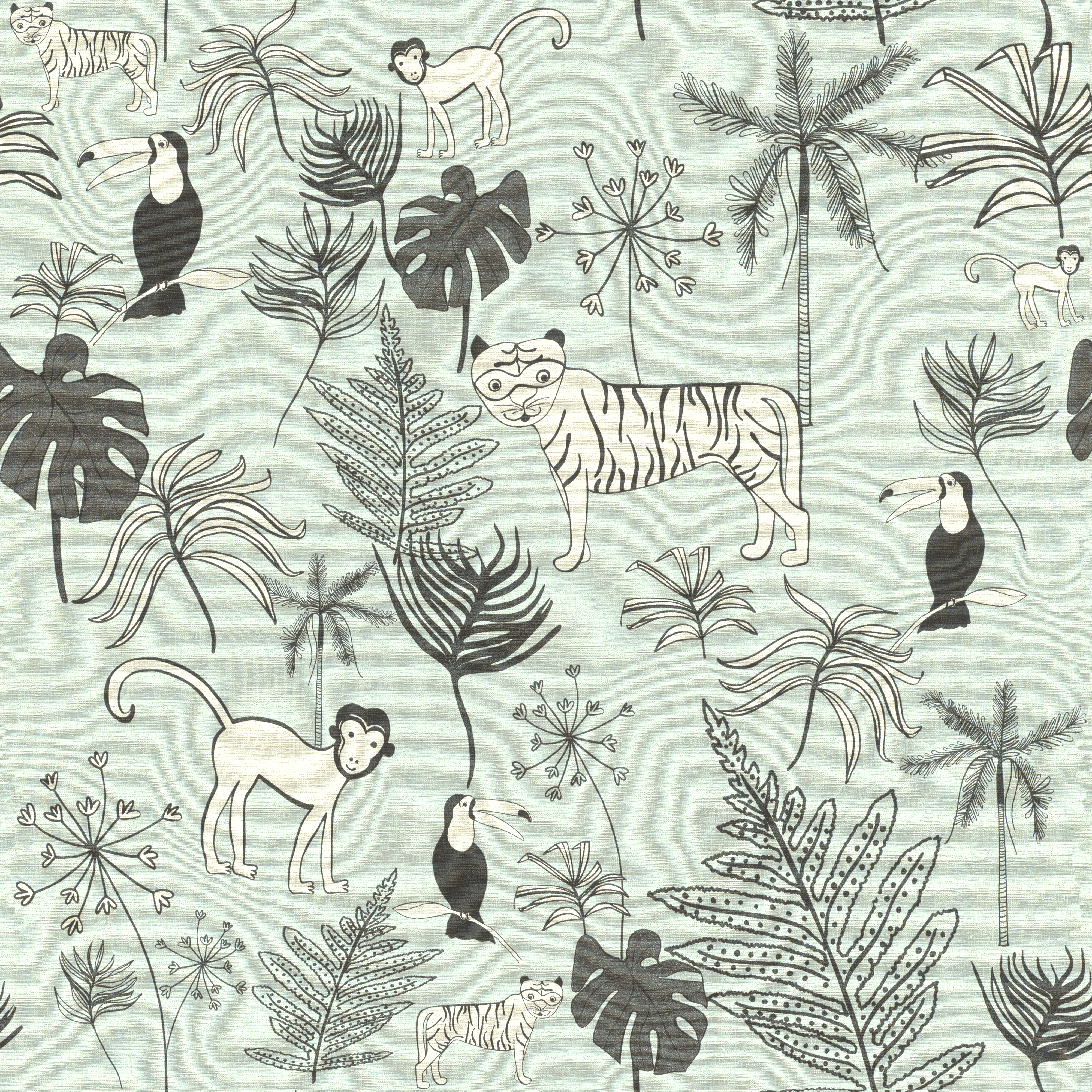 Kékes dzsungel mintás gyerek tapéta