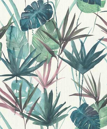 Kékes színvilágú modern trópusi levélmintás dekor tapéta