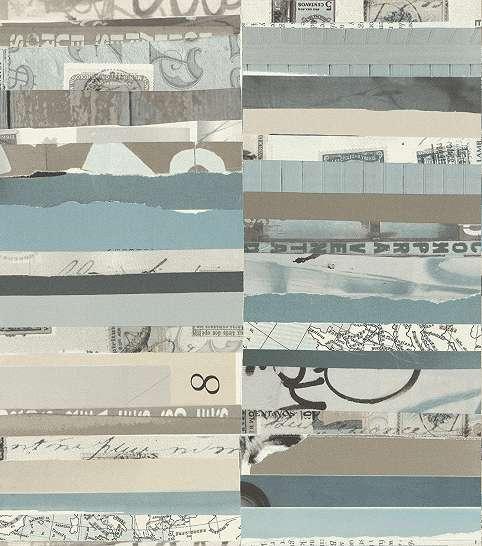 Kékes szürkés árnyaltú tépett papír mintás tapéta