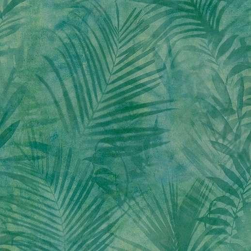 Kékeszöld modern design tapéta pálmalevél mintával vinyl felülettel
