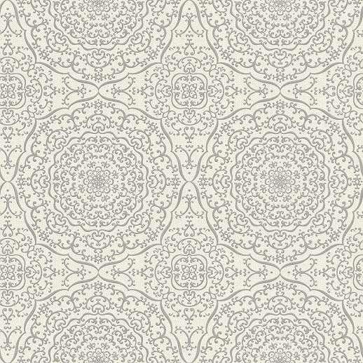 Keleties hangulatú mandala mintás tapéta szürke, krém színvilágban