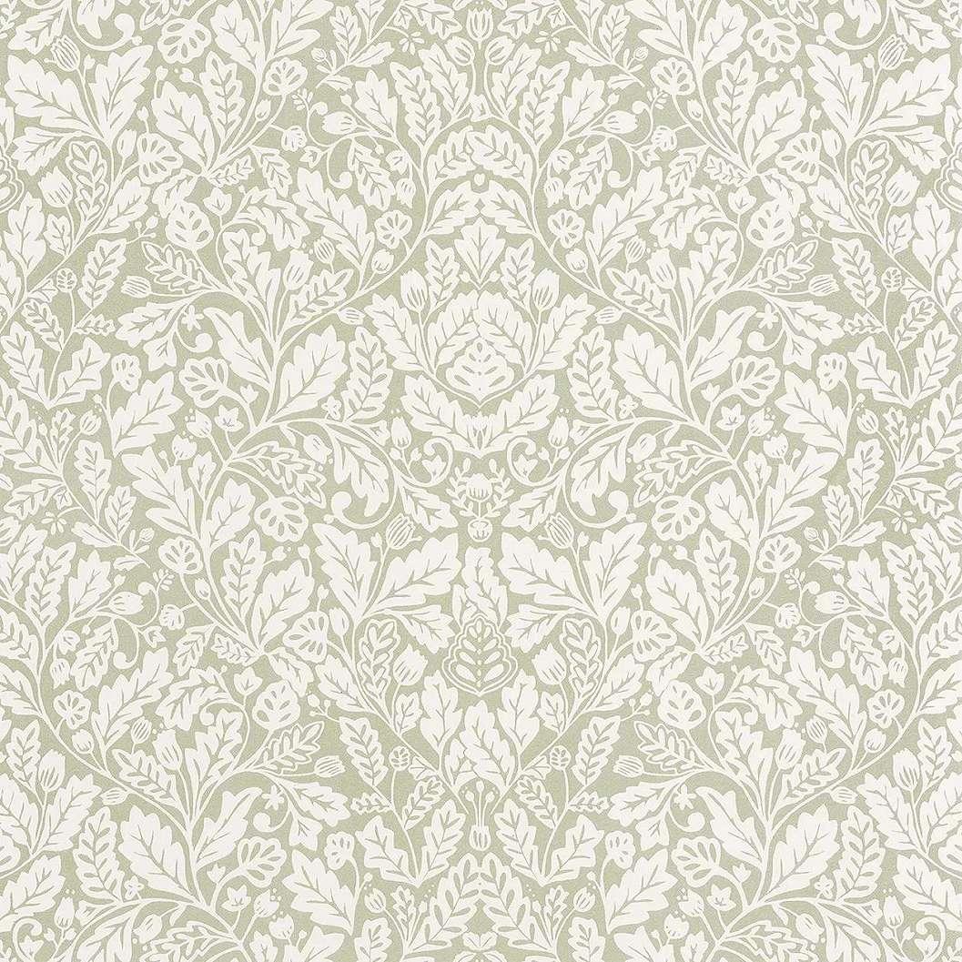 Keleties hangulatú pasztell zöld virágmintás vlies tapéta