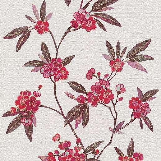 Keleties hangulatú piros virágmintás vlies dekor tapéta