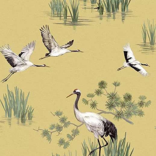 Keleties japán hangulatú daru madár mintás dekor tapéta