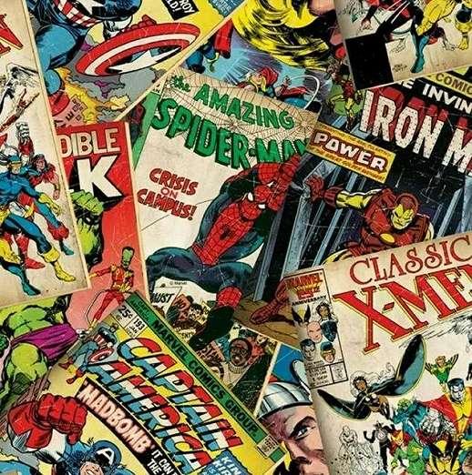 Képregény mintás gyerektapéta marvel szuperhősökkel