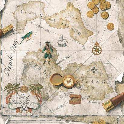 Kincses térkép mintás gyerek tapéta