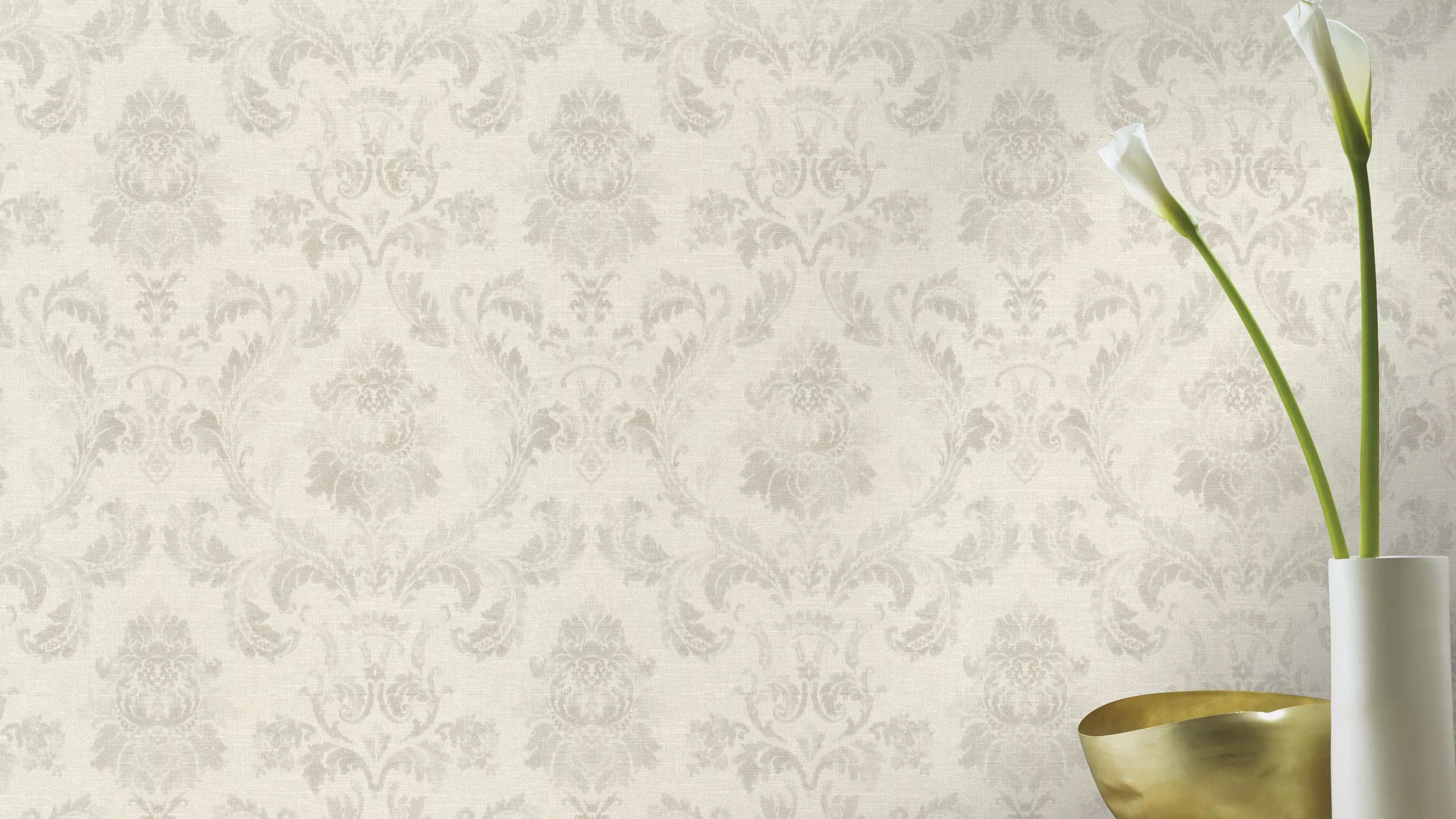 Klasszikus barokk mintás tapéta elegáns szürke, krém színekkel