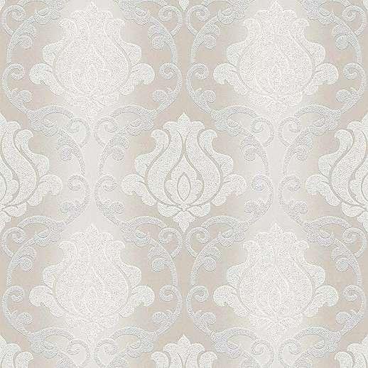 Klasszikus barokk mintás tapéta krém szürke színben