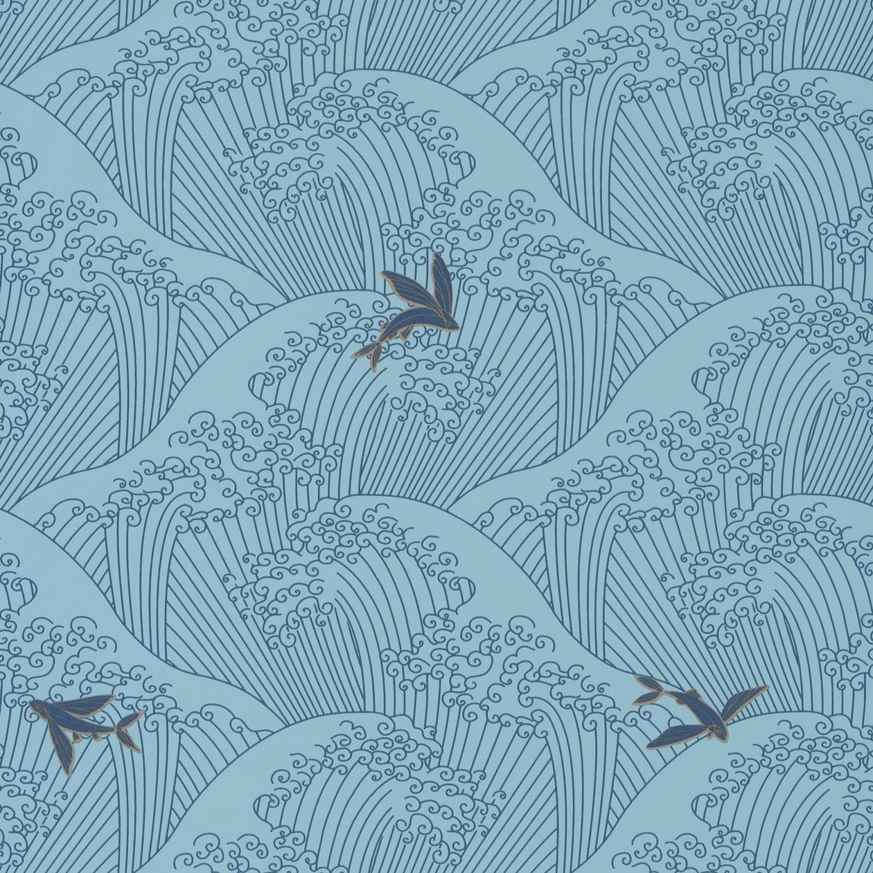 Klasszikus japán mintás tapéta kék alapon kék hullám, hal motívummal