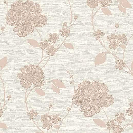 Klasszikus virágmintás tapéta barna bézs színben
