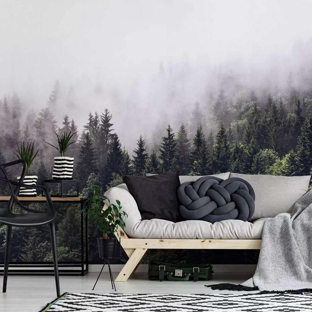 Ködös fenyves erdő mintás fali poszter
