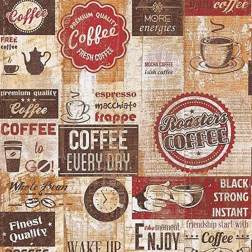 Konyhai dekor tapéta kávé mintával