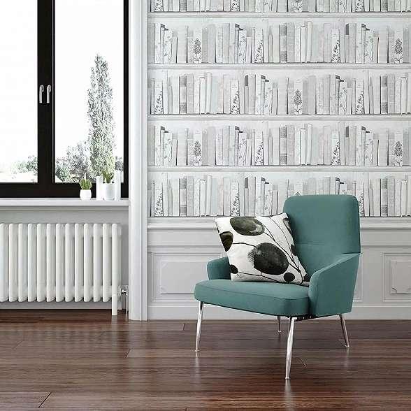 Könyvespolc mintás tapéta szürke, krém színvilágban