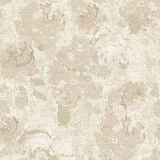 Krém akvarell hatású virágmintás vinyl tapéta