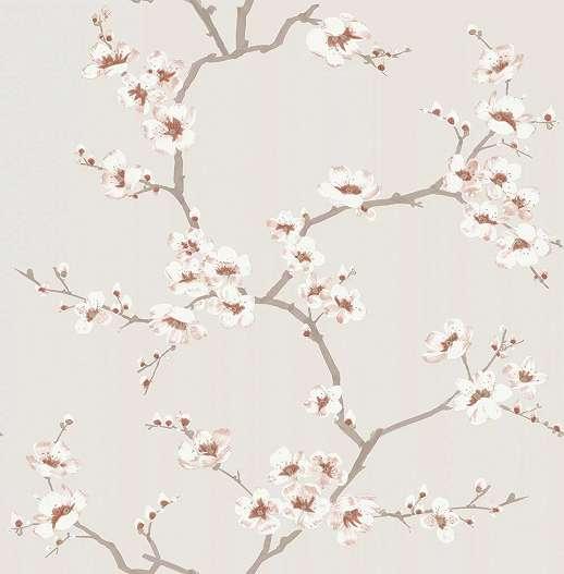 Krém alapon fehér-barack színű virágmintás dekor tapéta