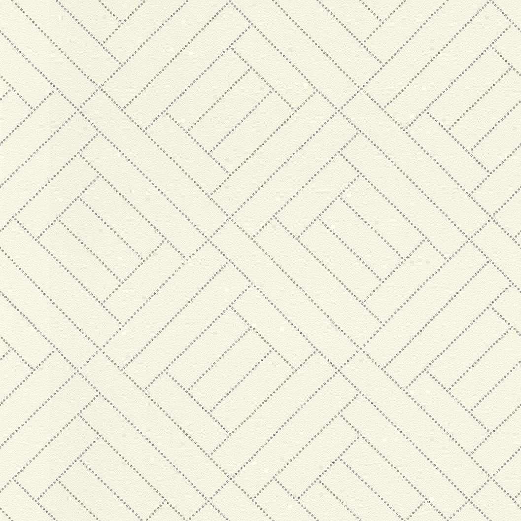 Krém alapon modern ezüst kereszt csíkos geometriai mintás tapéta