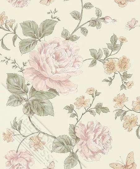 Krém alapon romantikus rózsa mintás vlies dekor tapéta