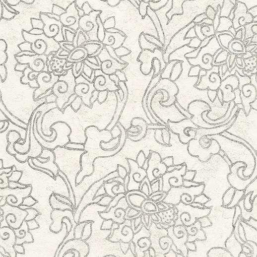 Krém alapon szürke geometrikus virágmintás vlies design tapéta