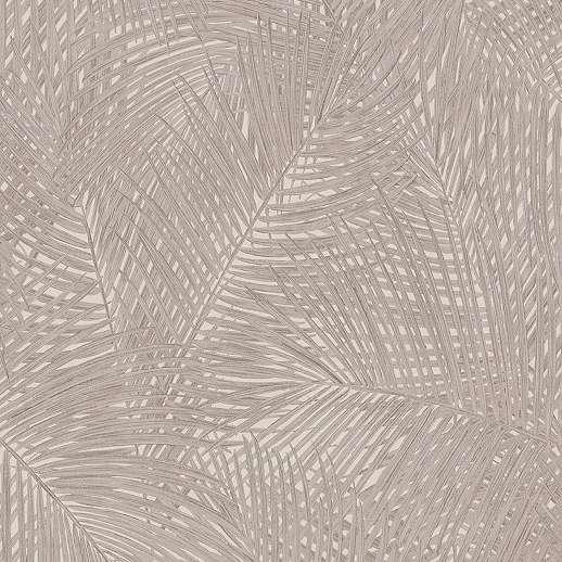 Krém barna mosható vinyl felületű pálmalevél mintás dekor tapéta
