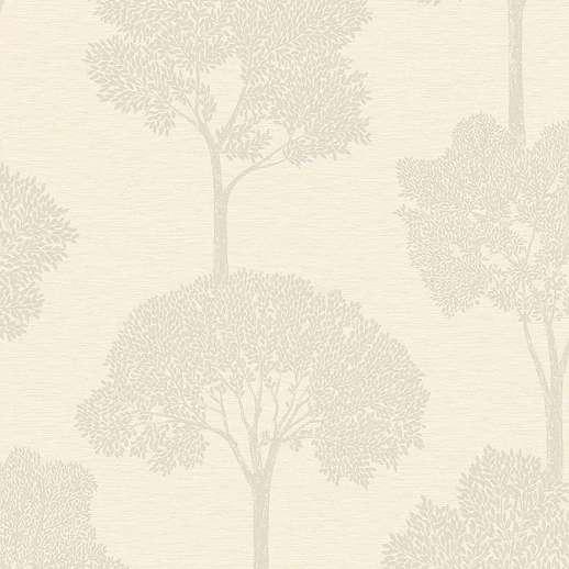 Krém erdei fa mintás tapéta csillogó mintafelülettel