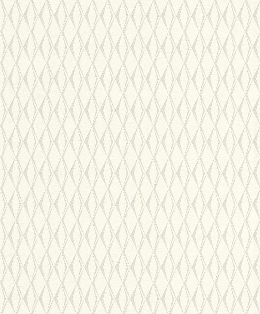 Krém geometria mintás tapéta ezüst mintákkal