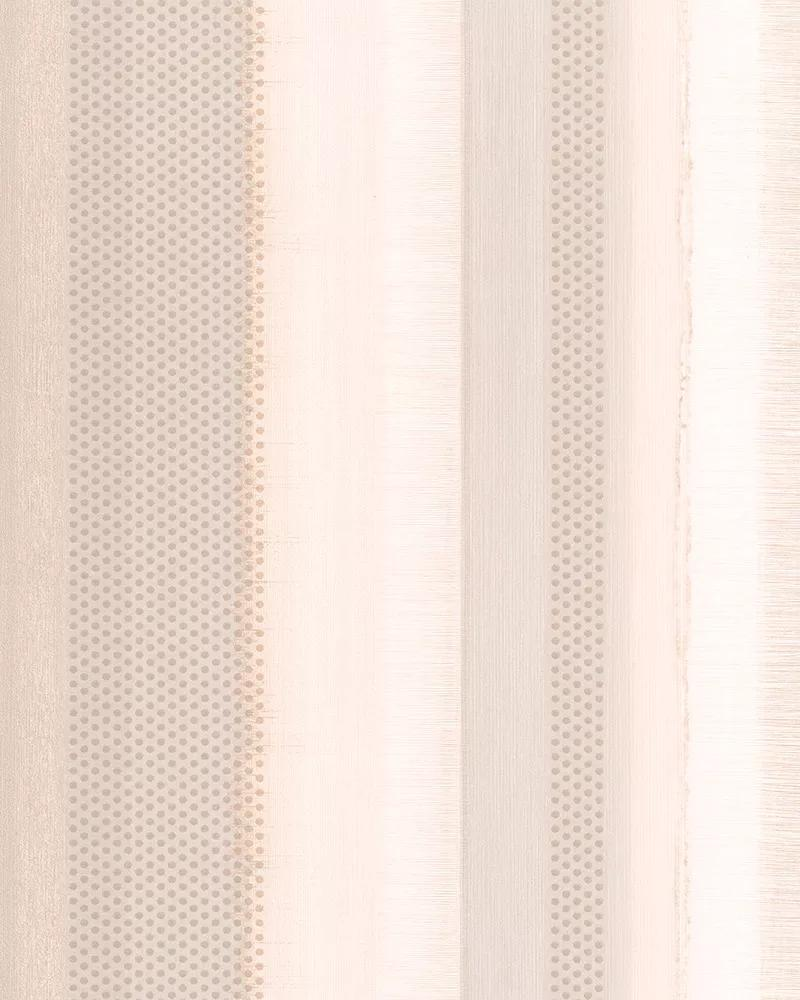 Krém rózsaszín csíkos mintás vlies tapéta apró struktúrált pöttyös mintával