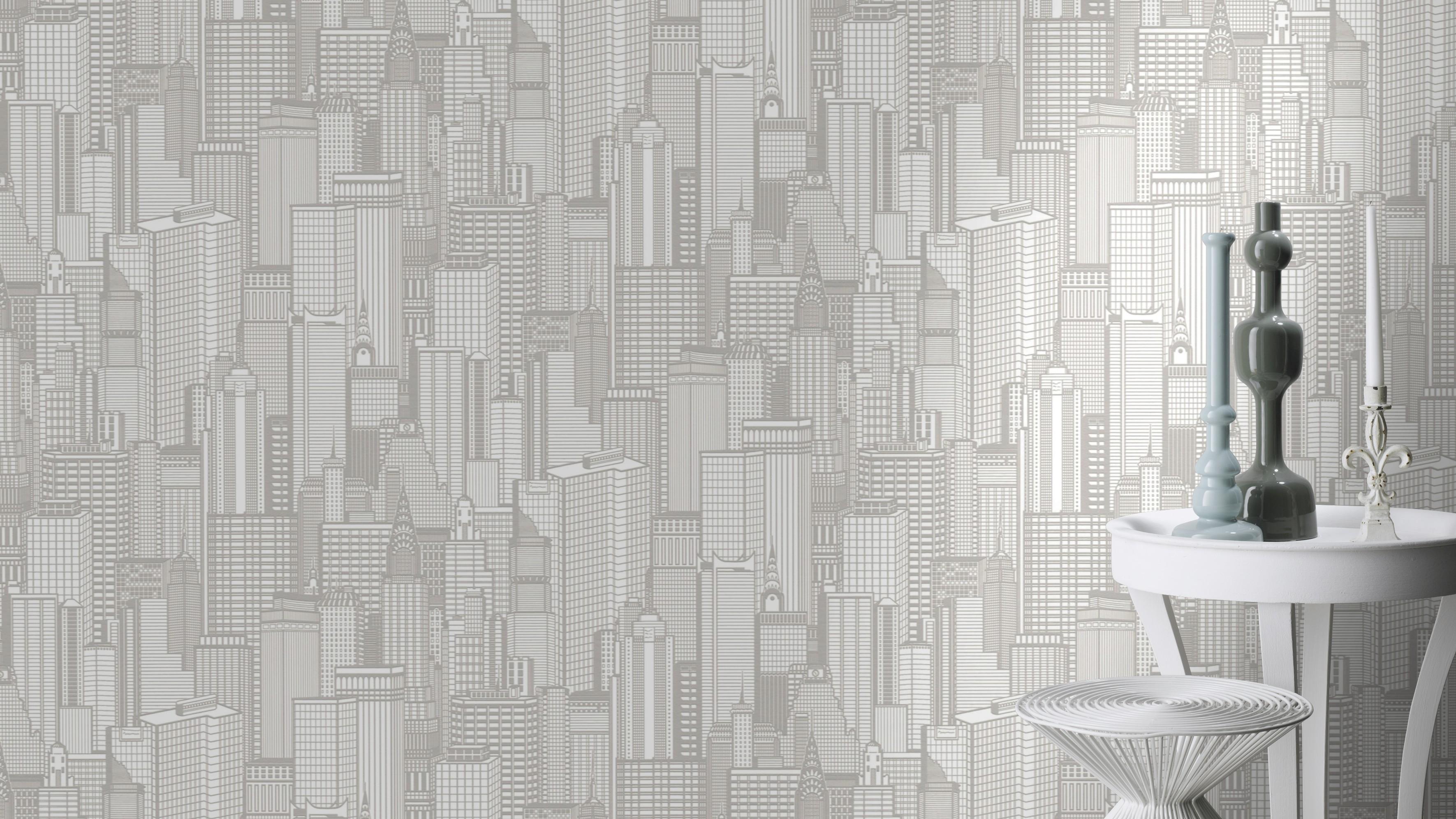 Krém színű felhőkarcoló mintás tapéta