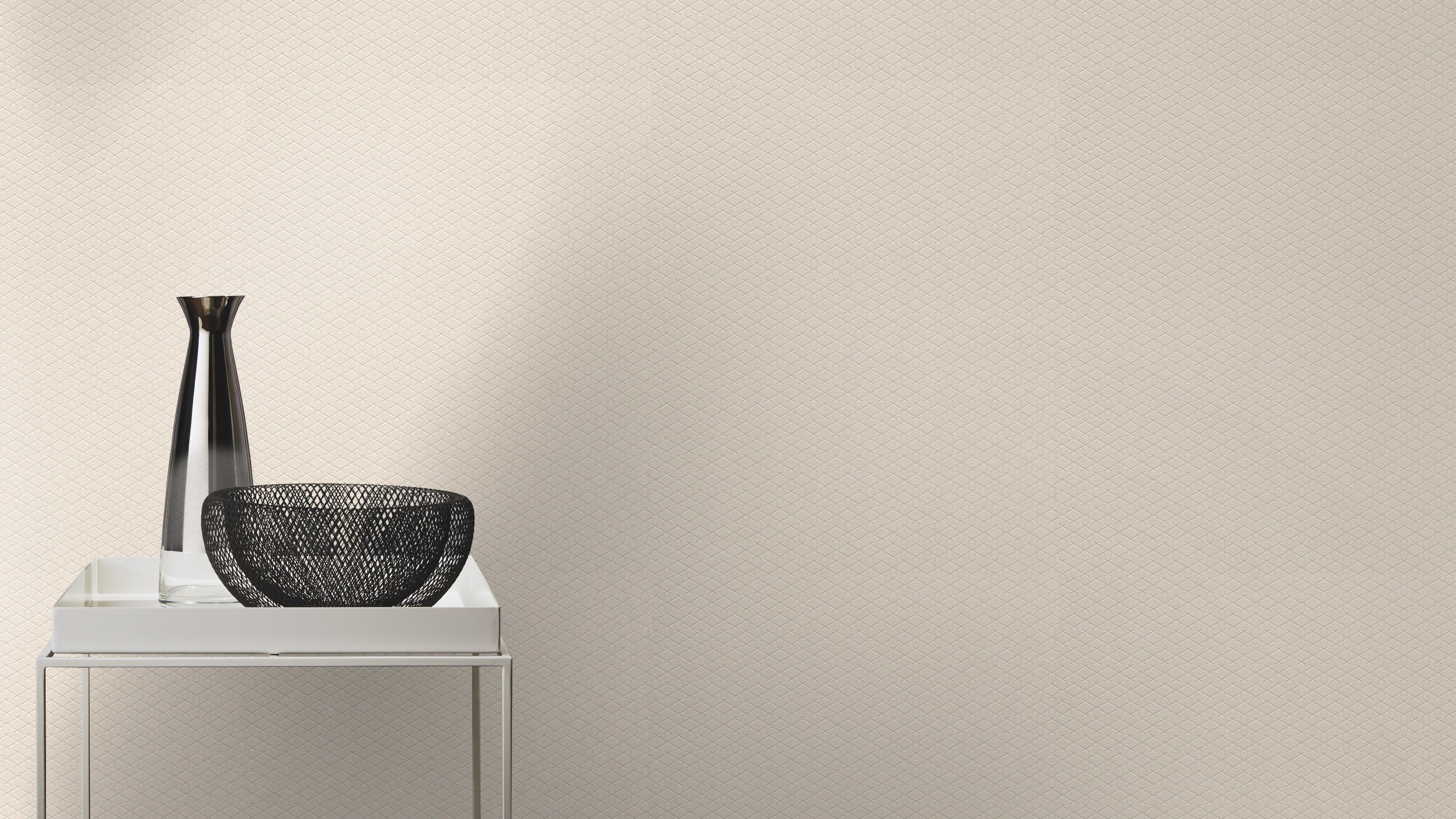 Krém színű geometriai mintás modern tapéta