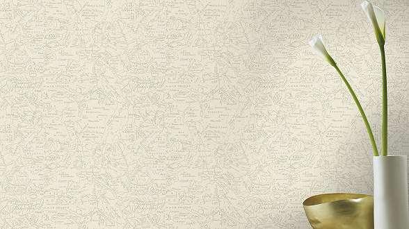Krém színű térkép mintás vintage hangulatú tapéta