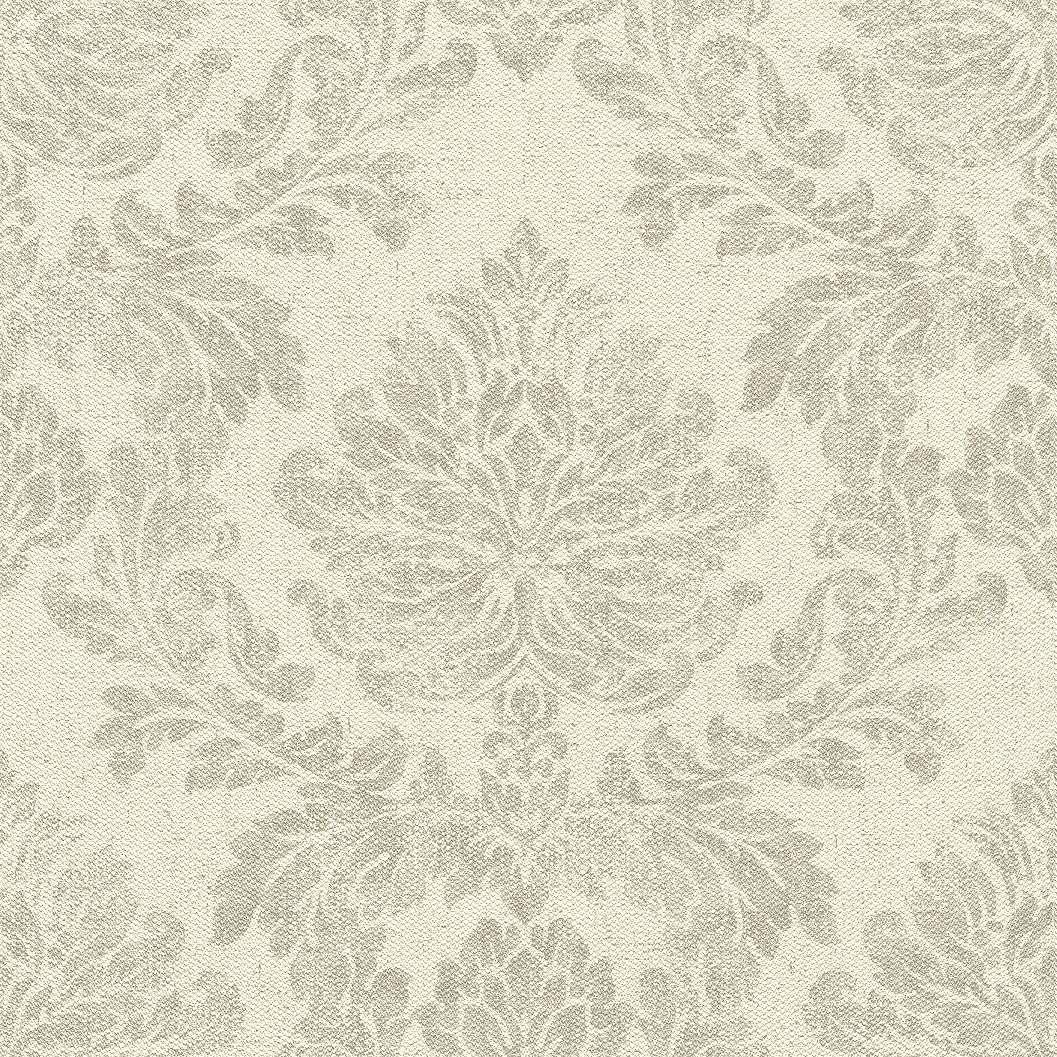 Krém szövethatású alapon szürkés drapp klasszikus mintás tapéta