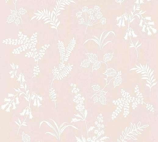 Krém tapéta skandináv stílusban levél virágmintával