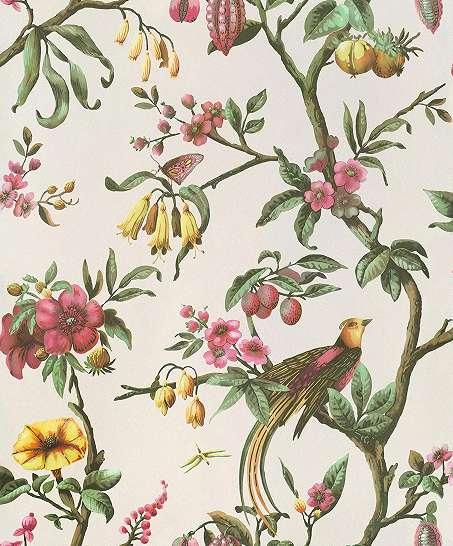 Kréma alapon vintage stílusú virág és pillangó mintás vlies tapéta