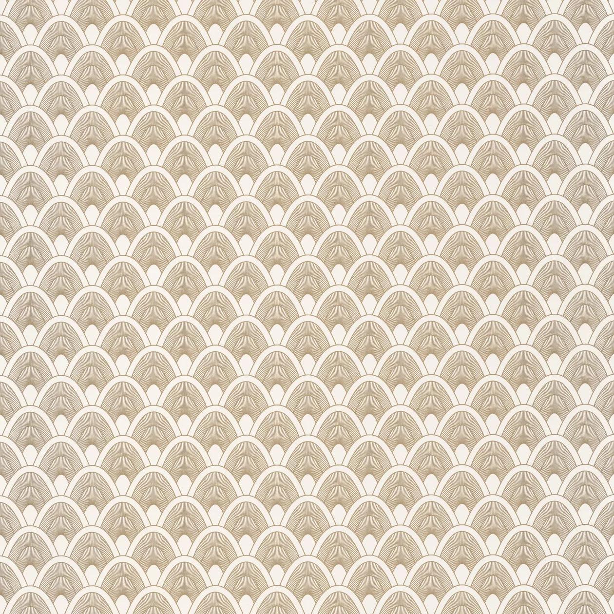 Krémfehér alapon barna fémes csillogású art deco mintás vlies design tapéta