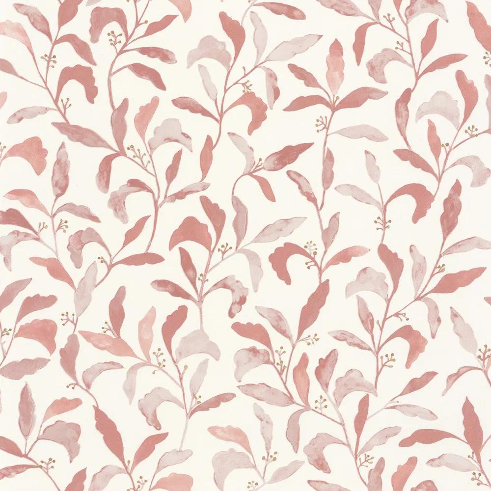 Krémfehér alapon rózsaszín levélmintás skandináv stílusú vlies tapéta