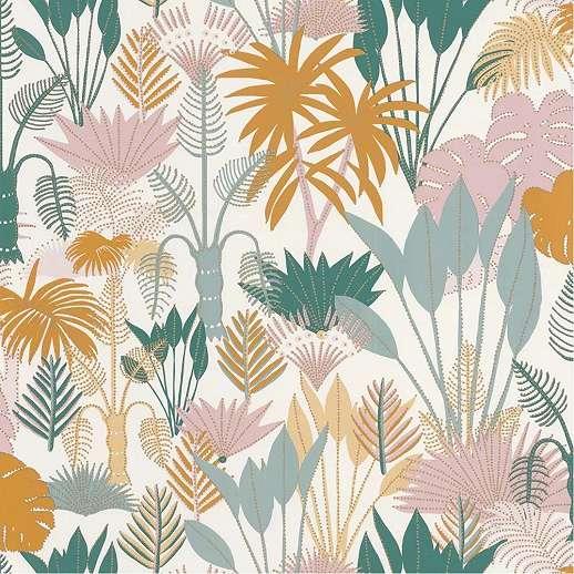 Krémfehér alapon zöld, narancs skandináv stílusú dzsungel mintás vlies design tapéta