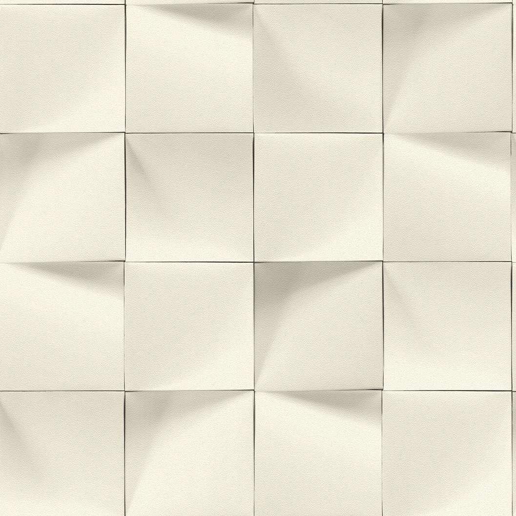 Krémfehér-beige-szürke kocka mintás tapéta