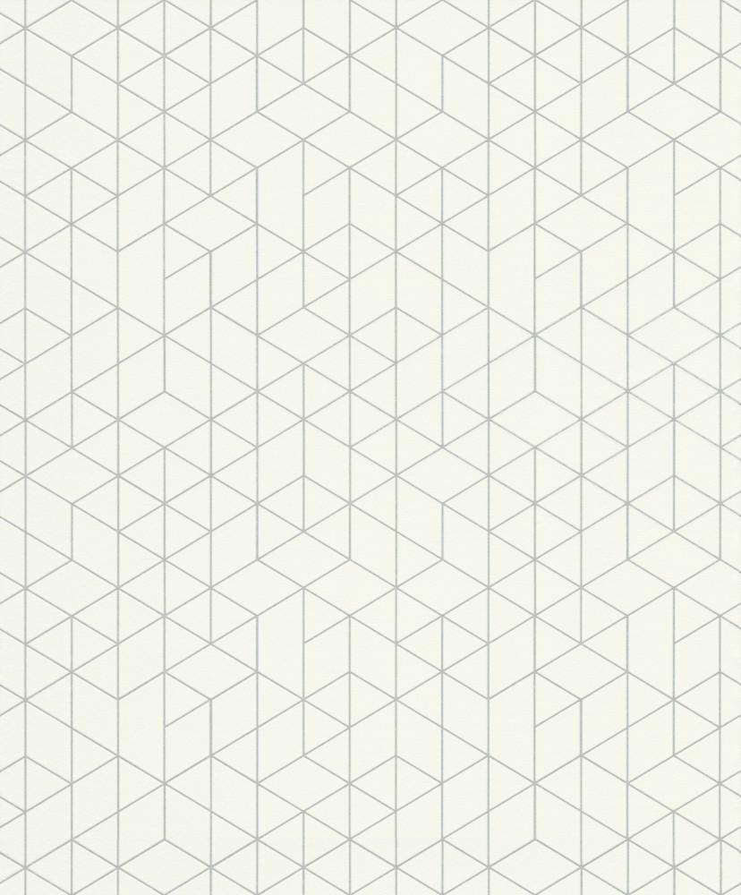 Krémfehér-ezüst geometriai mintás tapéta
