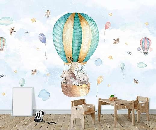 Léghajó mintás fali poszter kedves állatfigurákkal gyerekszobába