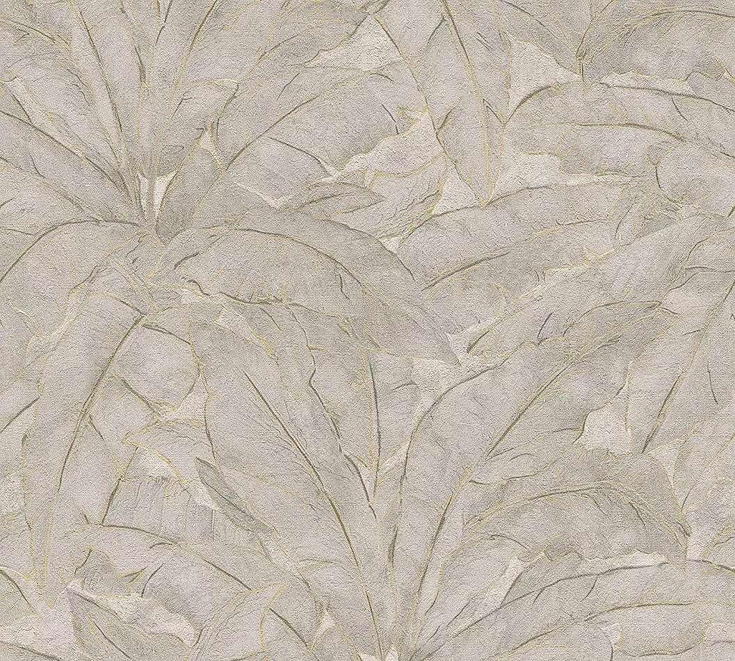 Levél mintás modern tapéta bézs, arany, szürke színekkel
