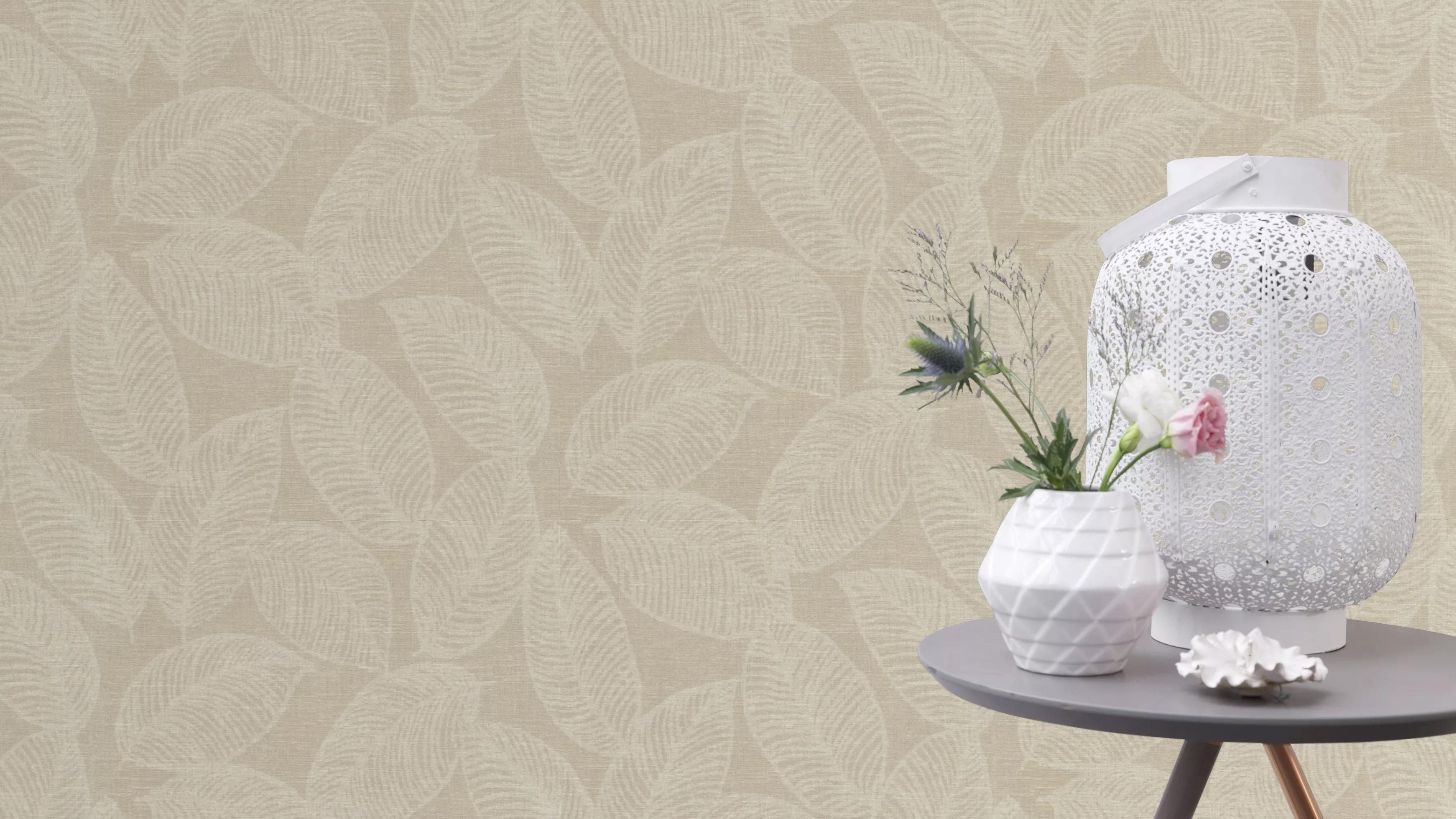 Levélmintás tapéta bézs, krém színben skandináv stílusba