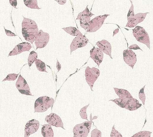 Levélmintás tapéta szürke rózsaszín színekkel