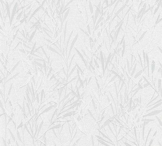 Levélmintás vlies tapéta szürke fehér színvilágban