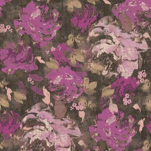 Lila akvarell hatású vlies virágmintás dekor tapéta