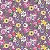 Lila alapon színes virágmintás tapéta