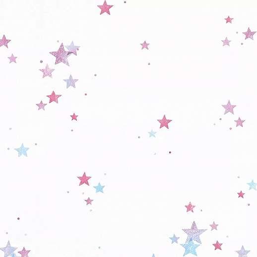 Lila kék csillag mintás papír gyerek tapéta