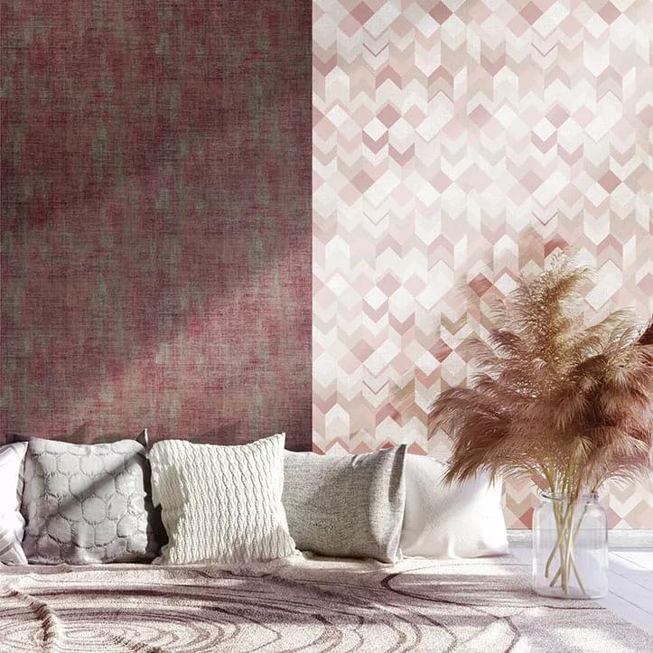 Lila-rózsaszín vinyl geometrikus mintás tapéta